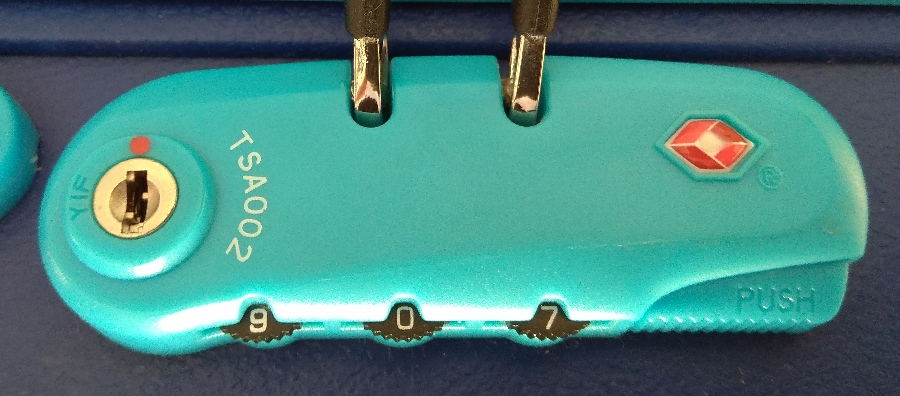 Typical luggage case padlock